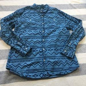 Modern Amusement Aztec Tribal Button Down Shirt L